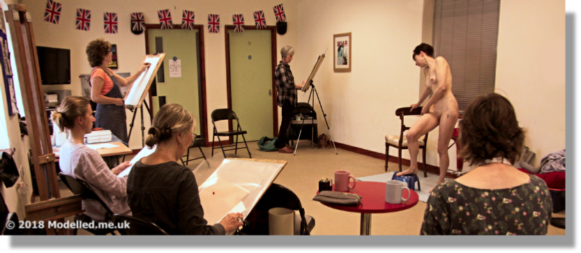 "Rosemarie working in a ""Typical"" Art Society Life Drawing Class"